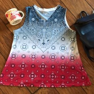 Bandana Top Red White & blue with bling size PM